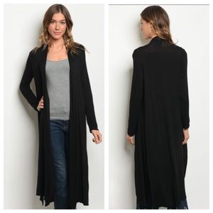 Sweaters - JUST IN! Lightweight Duster Cardigan Black